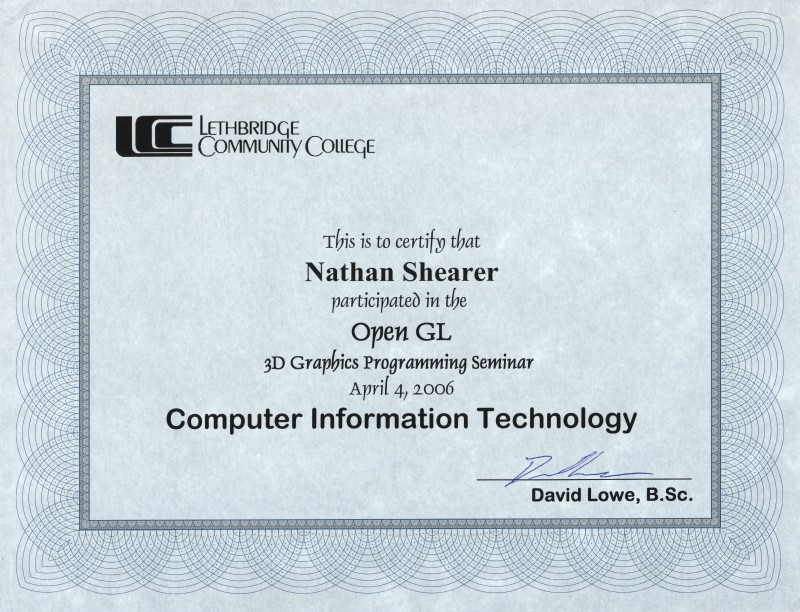 Nathan Shearer - Certificates