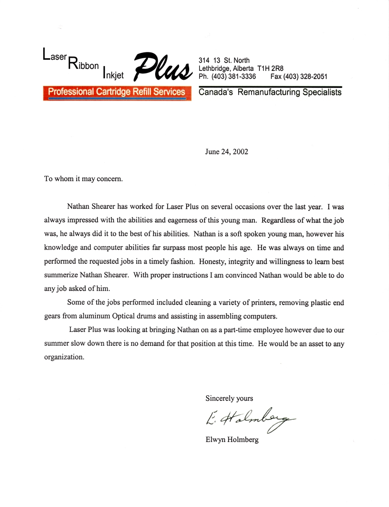 letters of recommendation business